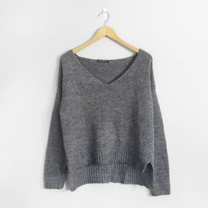 BRANDY MELVILLE Grey Knitted Wool V Neck Sweater